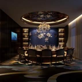 新中式餐厅包房3D模型【ID:635353850】
