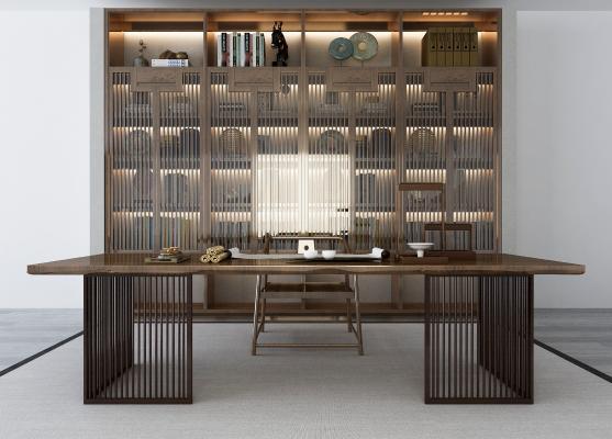 新中式书房3D模型【ID:143242540】