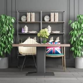 工业风置物架桌椅盆栽组合 3D模型【ID:640841275】