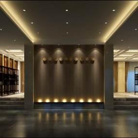 新中式酒店走廊3D模型【ID:753223422】