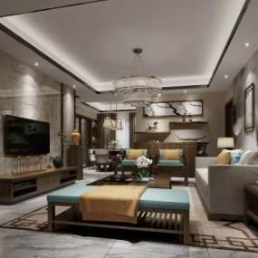 新中式客厅3D模型【ID:533595012】