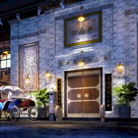 中式網紅年代餐廳3D模型【ID:644395263】