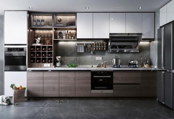 現代風格廚房3D模型【ID:143493709】