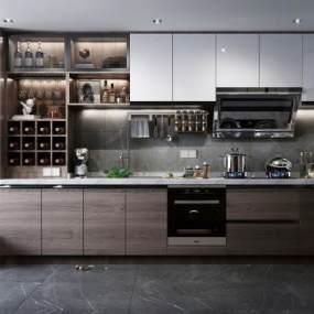 现代风格厨房3D模型【ID:143493709】