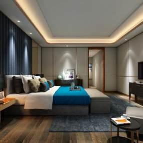 现代卧室3D模型【ID:534677238】