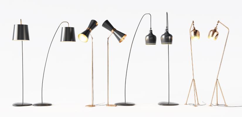 現代金屬落地燈組合3D模型【ID:853012221】