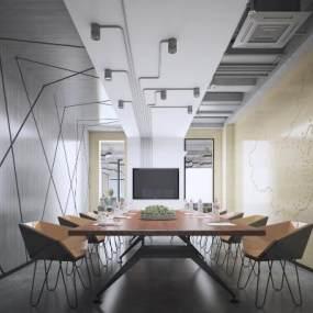 工業風辦公室會議室3D模型【ID:943942115】