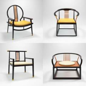 新中式椅子3D模型【ID:735102088】