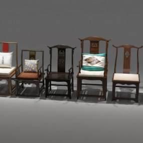 中式扶手椅3D模型【ID:753879154】