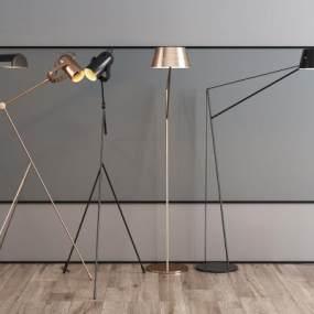 現代金屬落地燈組合3D模型【ID:853013250】