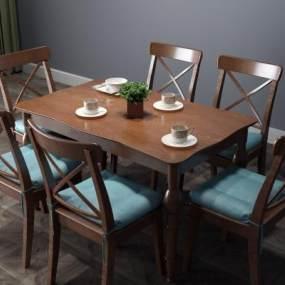 美式实木餐桌3D模型【ID:833518882】