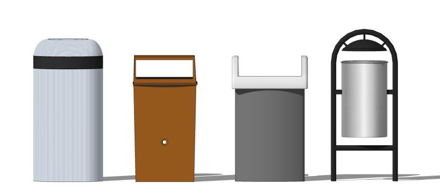 现代户外单桶垃圾箱SU模型【ID:650764619】