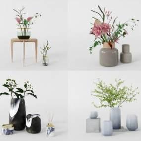 現代花瓶組合3D模型【ID:251250804】