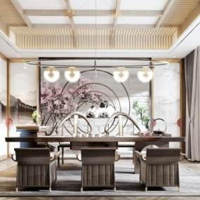 新中式茶室3D模型【ID:651251182】