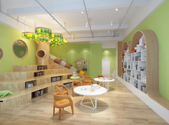 现代幼儿园图书室 造型树 卡座