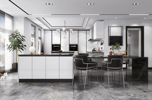現代開放式廚房餐廳3D模型【ID:548430322】