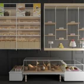 北欧蛋糕面包保鲜柜展柜货柜货架组合3D模型【ID:143411133】