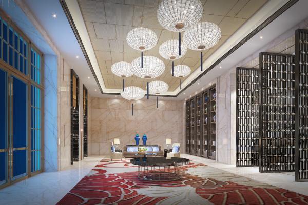 现代奢华酒店大堂门厅