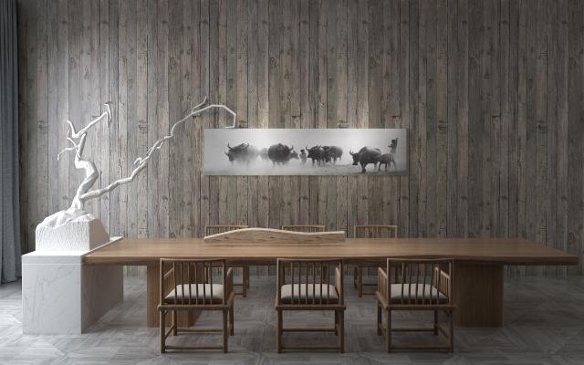 新中式茶桌3D模型【ID:845523843】