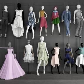 现代服装店模特3D模型【ID:345482028】