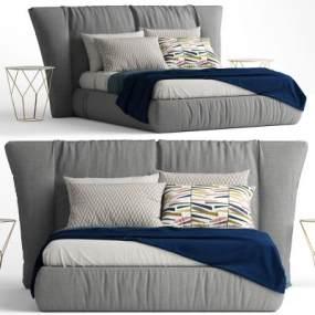 现代布艺双人床床头柜组合3D模型【ID:833489759】