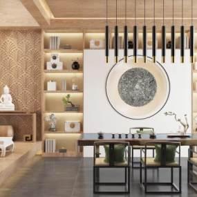 新中式茶室3D模型【ID:644395133】
