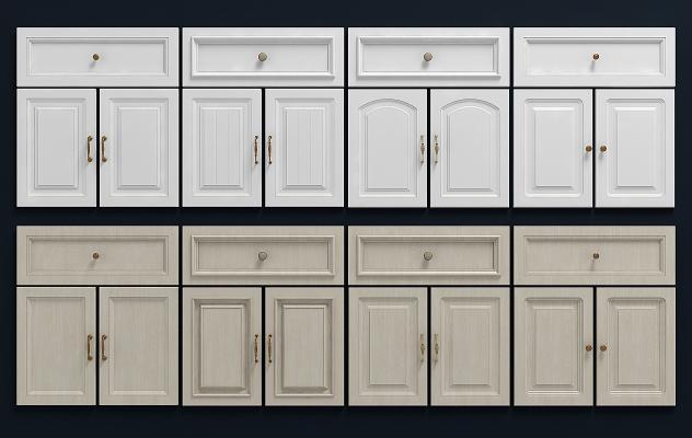 现代橱柜门板组合3D模型【ID:130953747】