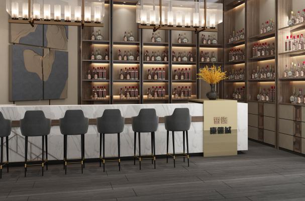现代酒吧吧台前台酒柜3D模型【ID:841877012】