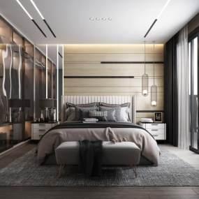 现代轻奢卧室3D模型【ID:548905255】