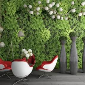 现代绿植墙盆栽休闲桌椅吊灯落地灯组合 3D模型【ID:241427837】