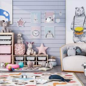 現代兒童房裝飾3D模型【ID:348692411】