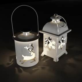 现代圣诞烛台灯3D模型【ID:832545126】