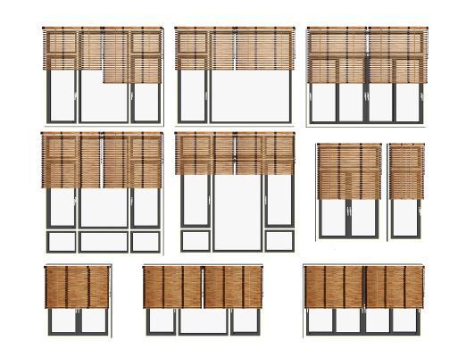 現代鋁合金窗竹簾組合SU模型【ID:948732335】