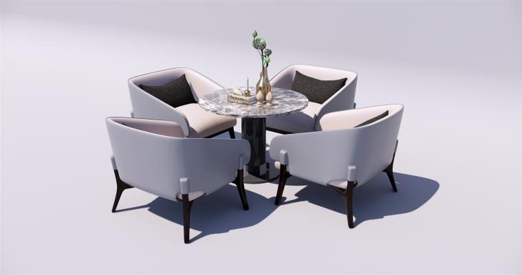 現代簡約洽談區桌椅組合SU模型【ID:346988796】