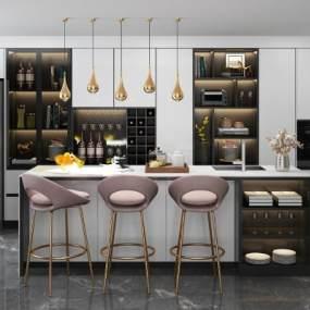 现代厨柜吧台吧椅3D模型【ID:134204733】