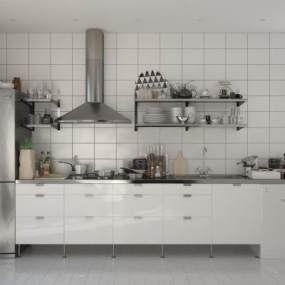 北欧简约橱柜厨具组合3D模型【ID:234334819】