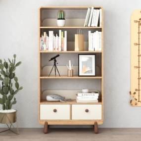 北欧实木儿童书柜3D模型【ID:145663570】