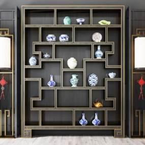 新中式装饰柜博古架落地灯组合3D模型【ID:132117193】