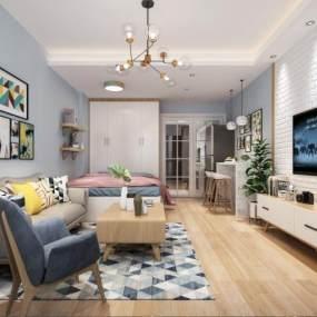 北欧客厅单身公寓3D模型【ID:531926074】
