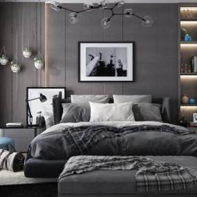 现代双人床挂画吊灯床头柜组合3D模型【ID:835638753】
