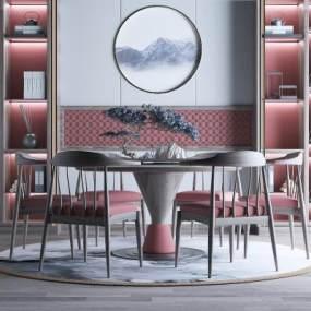 新中式餐厅书柜地毯3D模型【ID:536082139】