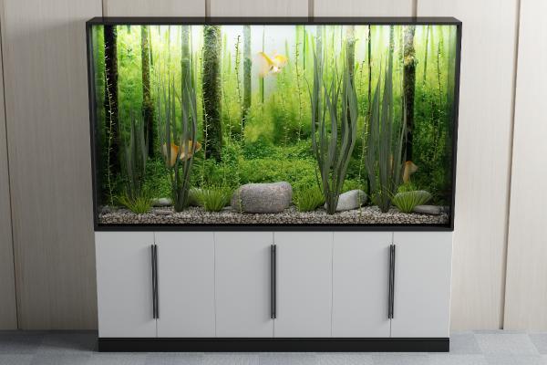 现代生态鱼缸客厅水族箱3D模型【ID:236329527】