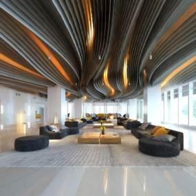 现代办公楼大堂前台3D模型【ID:134526207】
