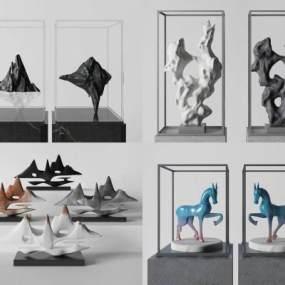 新中式雕塑饰品组合3D模型【ID:235944587】