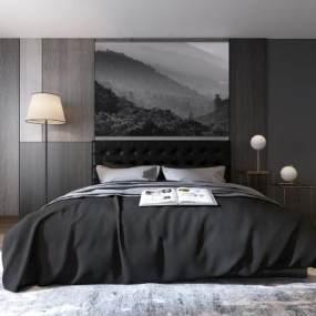 现代卧室双人床3D模型【ID:530431278】