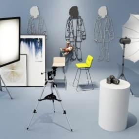 现代摄影棚摄影设备组合3D模型【ID:430934025】