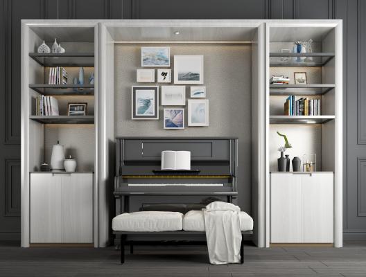 現代鋼琴裝飾柜組合3D模型【ID:340859960】