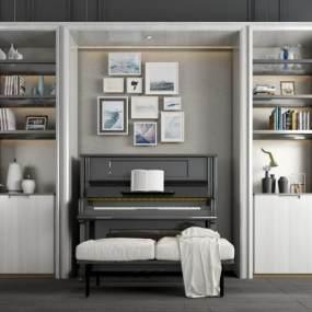 现代钢琴装饰柜组合3D模型【ID:340859960】