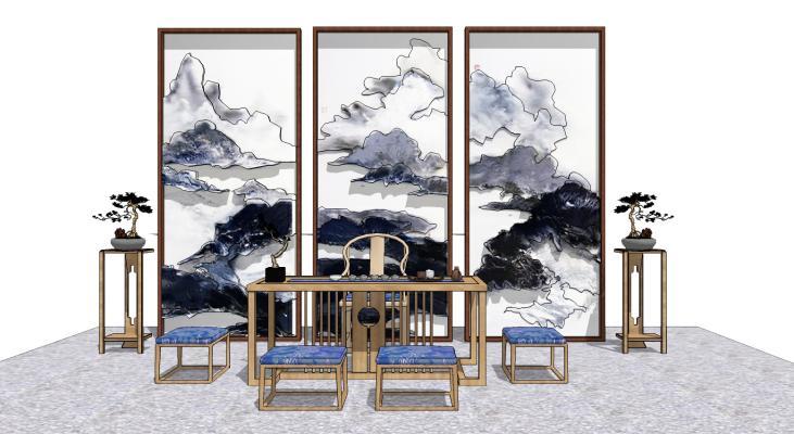 中式书桌椅组合SU模型【ID:844628086】