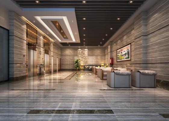 现代酒店电梯间休息区3D模型【ID:934839933】